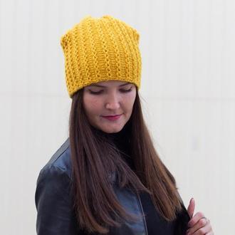 Тёплая вязаная шапка бини горчичного цвета 100% шерсть зимняя шапка