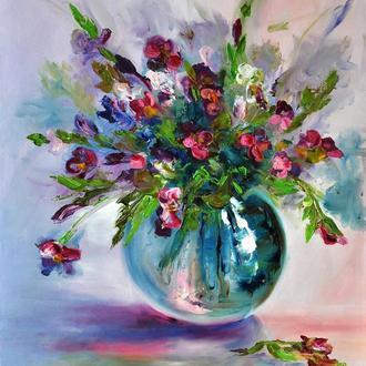 Картина маслом «Запах фиалок» 40х50см, живопись цветы