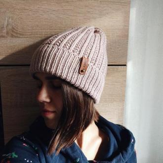 Вязаная мериносовая шапка