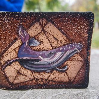 Женский бумажник, женский кошелек, женское портмоне с китом