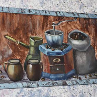 """Интерьерная картина  """"Кофейное настроение"""" размер 20х40см"""