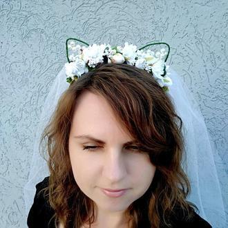 Ободок с кошачьими ушками и с фатой на девичник Цветочный венок на голову Обруч для волос девушке