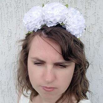 Объемный белый ободок с роз Цветочный венок на голову Обруч украшение для девушки Подарок