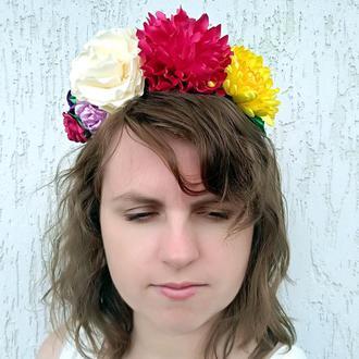 Цветочный венок на голову Ободок с розами осенний Объемный обруч для волос Подарок девушке