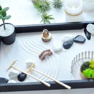 Японский сад камней Сад Дзен с совой, 27х40 см, классический
