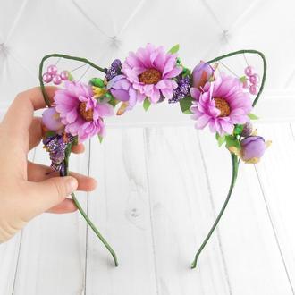 Обруч для волос Фиолетовое украшение девушке Ободок с кошачьими ушками Цветочный венок на голову