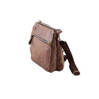 Мужская сумка на три отделения из канваса и кожи