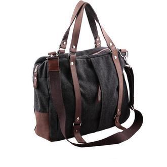 Мужская (женская) сумка-мессенджер из канваса и кожи