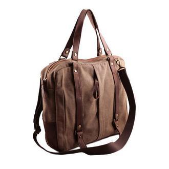 Мужская (женская) сумка-мессенджер из натуральной кожи и канваса