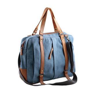 Вместительная сумка-мессенджер из канваса и натуральной кожи