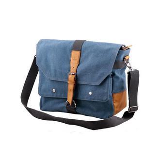 Мужская сумка через плечо из голубого канваса и кожи