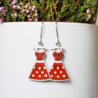 """Серебряные серьги с эмалью """"Мое красное платье"""""""