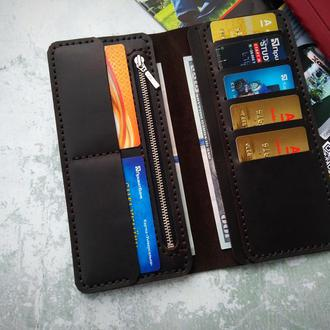 Мужское портмоне клатч, кожаный кошелёк, бумажник Темний шоколад