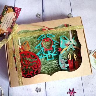 Набор елочных игрушек Новогодние елочные игрушки Новогодние игрушки на елку из дерева