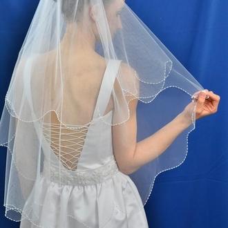 """Свадебная фата """"Плавная кайма"""""""