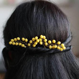 желтые шпильки для волос 2 штуки