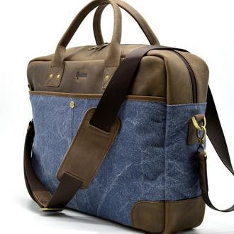 Мужская деловая сумка с органайзером TARWA RK-0458 из крейзи хорс и канвас