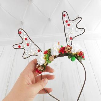 Новогодний ободок с рожками оленя Рождественский обруч для волос Украшение на голову для фотосессии