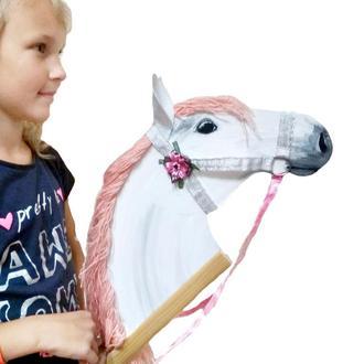 Лошадка на палочке Лошадка для девочки Конь игрушечный Деревянная лошадка для девочки