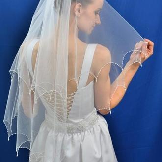 """Свадебная фата """"Кайма с подвесками"""""""