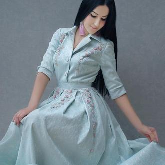 """Нарядное пышное платье """"Утреннее небо"""" платье с вышивкой, красивое платье на Новый год!"""