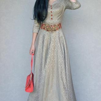 """Нарядное вечернее платье в пол """"Бронзовый жаккард""""  длинное платье с вышивкой, золотое платье"""