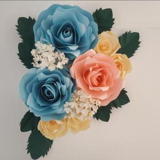 Декор для дома, холст на подрамнике с объемными цветами