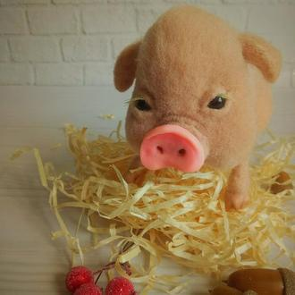 Валяная свинка, интерьерная хрюшка, поросенок, символ 2019 года, подарок на Новый год