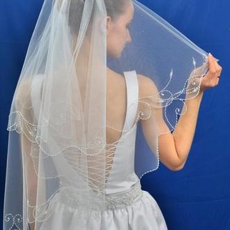 """Свадебная фата """"Веточка-воланы"""""""