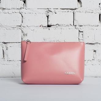 Женская косметичка COSMO из глянцевой кожи розового цвета
