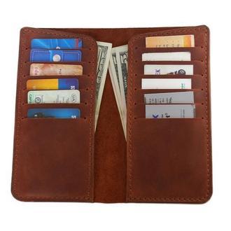 Коньячный кожаный бумажник для денег визиток х26 (10 цветов)