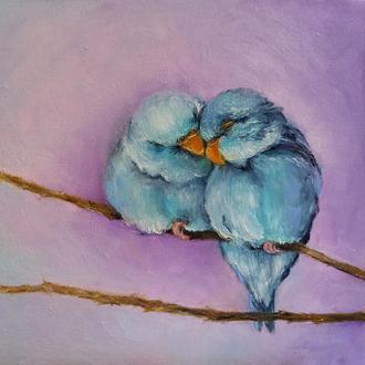 Картина маслом живопись птицы