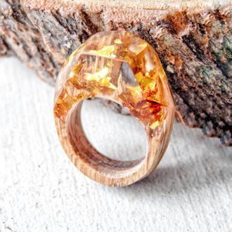 Кольцо с золотыми глитерами, кольцо из дерева, перстень золотой, подарок для женщин, для девушки
