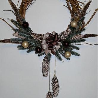Рождественский венок венок из лозы новогодний декор