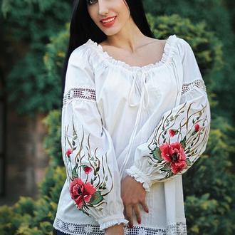 "Вышитая блуза, блуза с вышивкой ""Волшебство лета"" женская вышиванка"