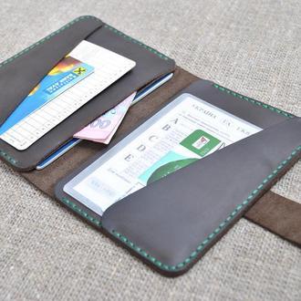 Кожаный чехол для документов D02-450+green