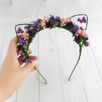 Цветочный обруч для волос Кошачьи ушки на ободке Фиолетовое украшение девушке на голову Подарок