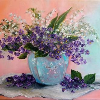 Картина маслом живопись цветы