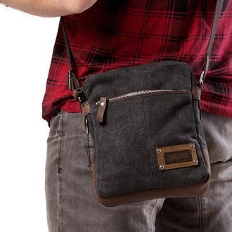 Мужская сумка небольшого размера из канваса и натуральной кожи, серый графит