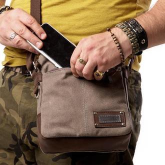 Мужская сумка небольшого размера из канваса и натуральной кожи, серая