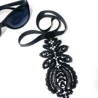 Черный кружевной женский галстук