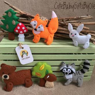 Набор животных из фетра Лес
