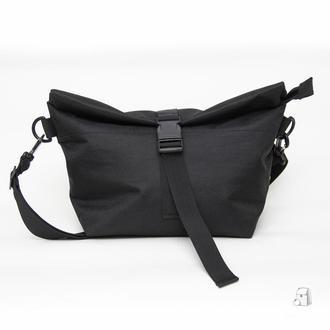 Lunch bag чорний XL з довгим ременем