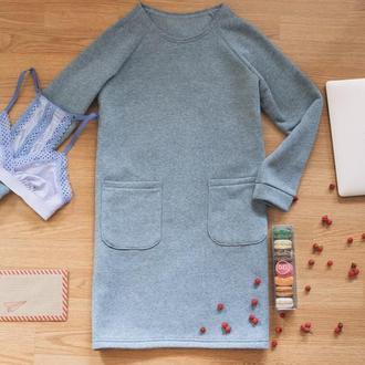 Теплое платье на флисе, серое платье, зимнее платье, меланж, платье с карманами, байка