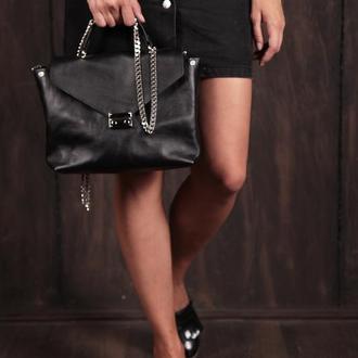 Стильная женская сумка-портфель из натуральной кожи