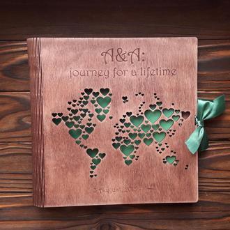 """Фотоальбом из дерева """"Карта мира"""""""