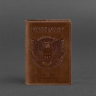 Обложка для паспорта с американским гербом, коньяк