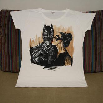 футболка з  розписом batman catwoman бетмен комікси роспись