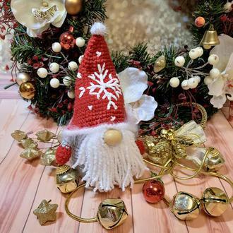 Мягкая вязаная игрушка новогодний рождественский гномик гном декор интерьера