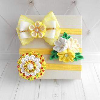 Красивые повязки для малышки Цветочное украшение на голову Подарок девочке на первый день рождение